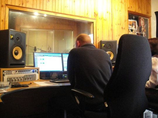 Sound engineer Henk, working his magic...