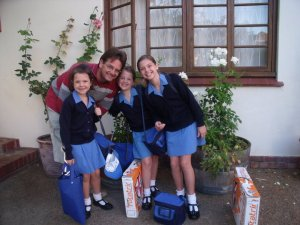 Victoria(11) and Naomi (9)Fokkens with their sister and dad, Alex. Alex is a famous conductor!