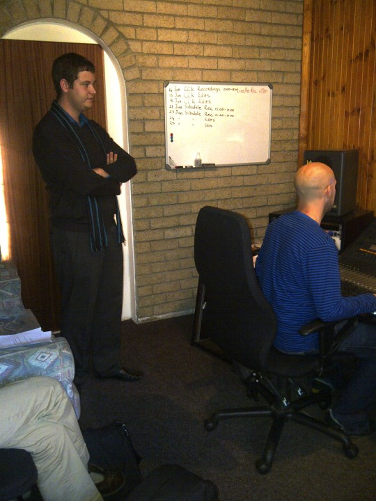 In MusicatWork's control room during recording of Cool Classic Kidz